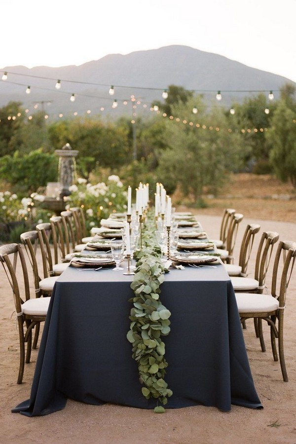 rustic outdoor navy and greenery wedding table decor idea