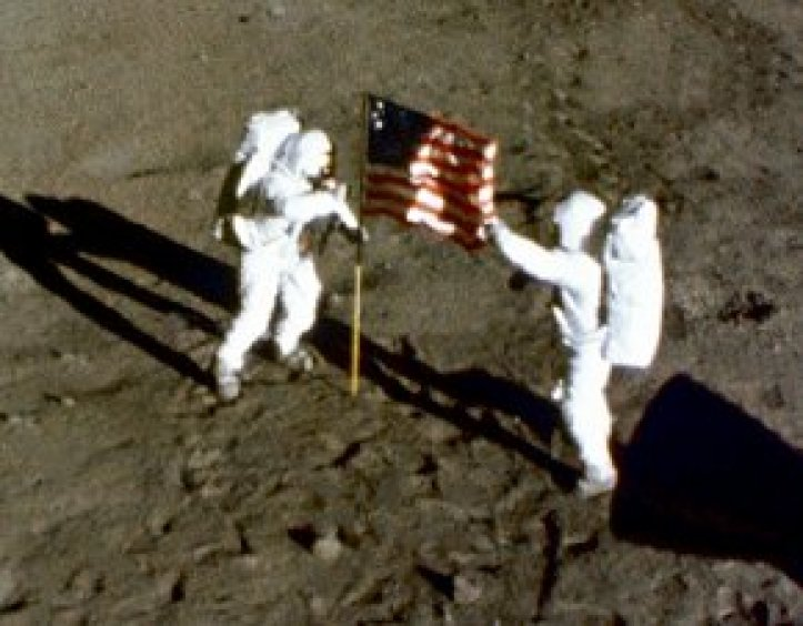 US flag on the moon. It looks like it's moving in the wind.
