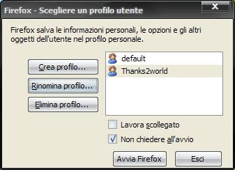 mozilla firefox selezione profilo utente