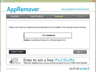 Rimuovere l'antivirus con AppRemover