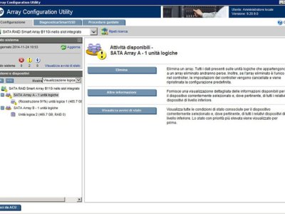 HP Smart Array Controller Utility e log eventi