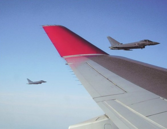 Eurofighters from Austrian Air Force escort Indian President's Air India One
