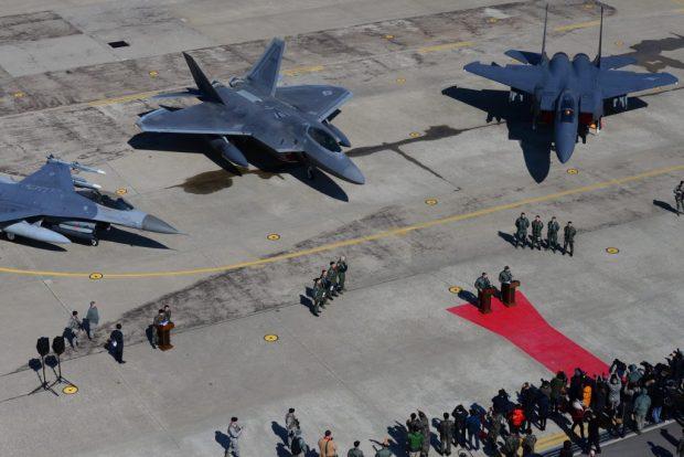 US Air Force F-22's arrive at Osan Air Base