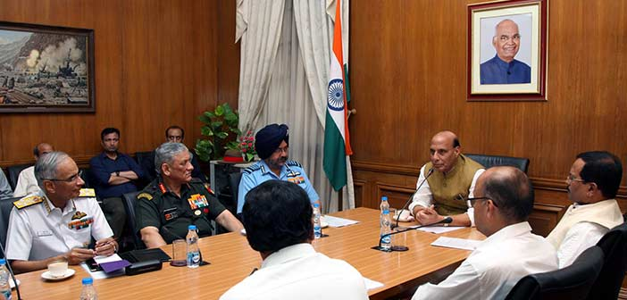 Defence Minister Rajnath Singh chaired a high level meeting to review the operational and procurement matters of Indian armed forces.