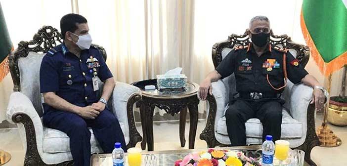 General Naravane with Air Vice Marshal Abul Bhashar of Bangladesh Air Force