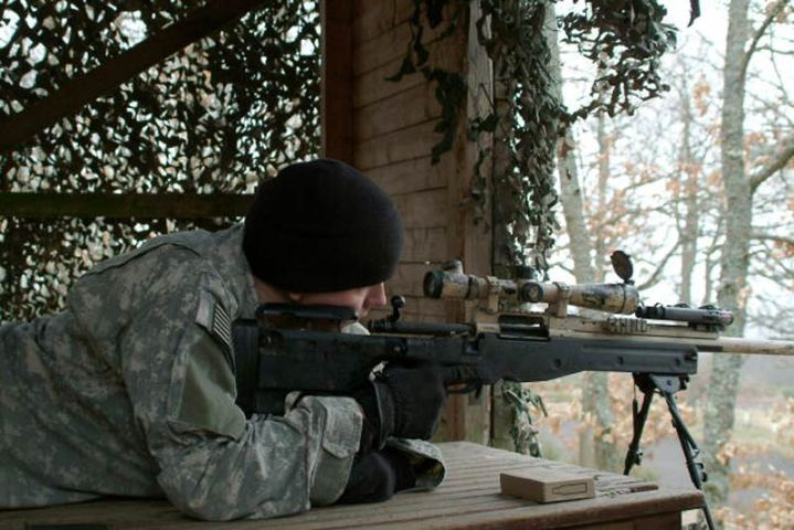 Soldiers from Headquarters and Headquarters Company, 1st Battalion, 6th Infantry Regiment participate in sniper training using an M24 sniper weapon at Baumholder Maneuver Training Area, Germany, March 13, 2008. U.S. Army photo by Ruediger Hess.