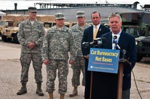 U.S. Senator Lindsey Graham held a press conference with Congressman Jeff Duncan and South Carolina National Guard Adjutant General Maj. Gen. Robert E. Livingston Jr. at a National Guard Armory, Greenville, S.C., May 29, 2012. Graham is doing a statewide tour warning of the severe negative impact the looming budget sequestration will have on our national security. DoD photo by Staff Sgt. Jorge Intriago