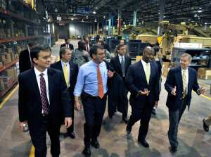 Deputy Secretary of Defense Ashton B. Carter, center left, tours the Vehicular Integrated Solutions Facility at Joint Base Charleston, S.C., with Space and Naval Warfare Systems Command executive director Chris Miller, left, U.S. Rep. Tim Scott, second from right, and U.S. Sen. Lindsey Graham, far right, June 18, 2012. DoD photo by Glenn Fawcett