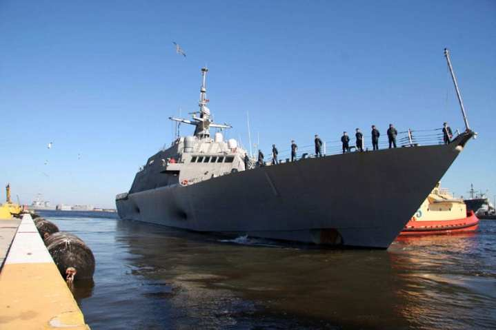 The littoral combat ship USS Freedom (LCS 1) departs Naval Station Mayport for its first operational deployment. Freedom will conduct counter-illicit trafficking operations and theater security cooperation in the U.S. 4th Fleet area of responsibility. U.S. Navy photo by Mass Communication Specialist 2nd Class Lily Daniels/Released