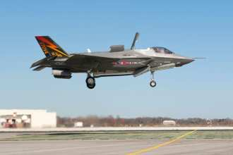 F-35B BF-1 nears touchdown in its first vertical landing. Photo courtesy of Lockheed Martin