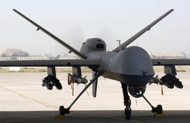 An MQ-9 Reaper unmanned aircraft vehicle sits in a shelter at Joint Base Balad, Iraq, after a mission Nov. 10, 2008. Ten Reapers are slated to carry the twin sensor pods of the Gorgon Stare system. U.S. Air Force photo by Tech. Sgt. Erik Gudmundson