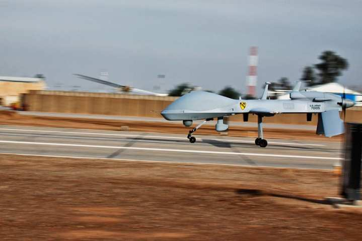 After completing a 24-hour mission, an MQ-1C Sky Warrior aircraft from Quick Reaction Capability 1, attached to 1st Air Cavalry Brigade, 1st Cavalry Division, U.S. Division – Center, makes a landing at Camp Taji, Iraq in January 2010. The soldiers of QRC1 conduct daily operations in support of Operation Iraqi Freedom. U.S. Army photo by Sgt. Travis Zielinski, 1st ACB, 1st Cav. Div., USD-C