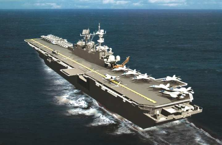 Northrop Grumman imagery of USS America (LHA 6). While the artwork shows a ship closely resembling a recent Wasp-class LHD, America will differ in having much improved aviation facilities. Image courtesy of Northrop Grumman Shipbuilding.