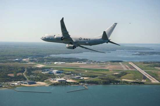 The first P-8A Poseidon test aircraft arrives at Naval Air Station Patuxent River, Md., on April 10, 2010.  U.S. Navy photo.