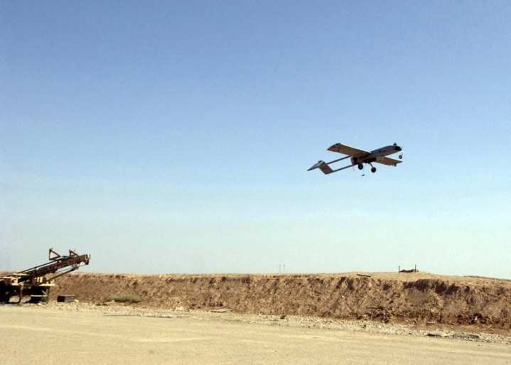 An RQ-7 Shadow tactical unmanned air vehicle launches for a mission at Forward Operating Base Warhorse, Iraq, on May 28, 2005, during Operation Iraqi Freedom. U.S. Army UAVs surpassed 1 million flight hours this year. U.S. Air Force photo by Staff Sgt. Suzanne M. Day.