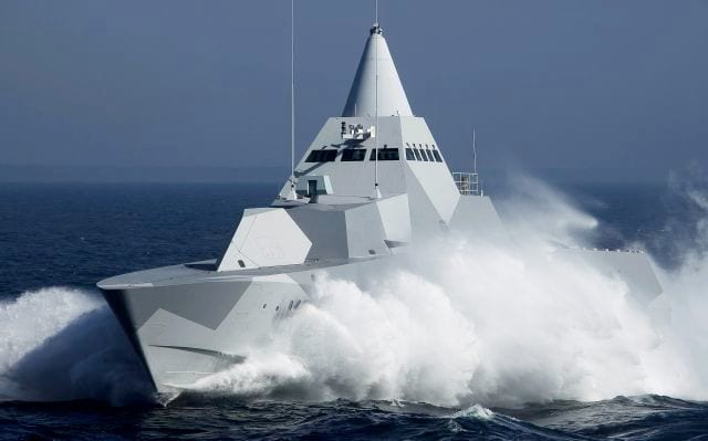 The cone-shaped, frequency-selective radome of the Sea Giraffe radar stands atop the pilot house of a Visby-class corvette. Photo courtesy of Saab.