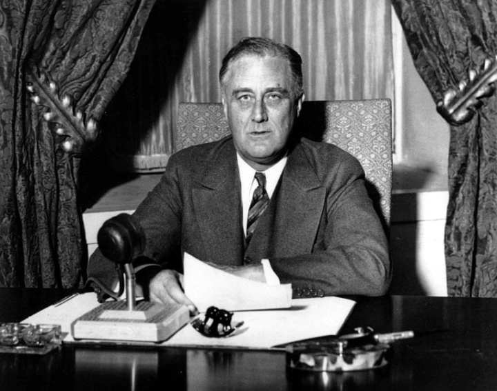 "President Franklin D. Roosevelt's ""fireside chats"" helped Americans to grasp complex issues in simple terms, and laid the groundwork for his ""Four Freedoms"" speech. Library of Congress photo"