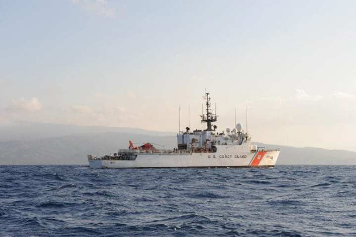 Coast Guard Cutter Forward patrols off the coast of Haiti in support of its mission as the commander of the surface action group, Jan. 14, 2010. Forward was diverted from its patrol in the Caribbean to support the relief efforts in Haiti. U.S. Coast Guard photo by Petty Officer 3rd Class Sabrina Elgammal