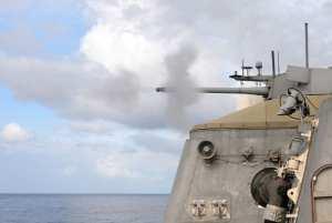 30 mm gun firing aboard LCS 1