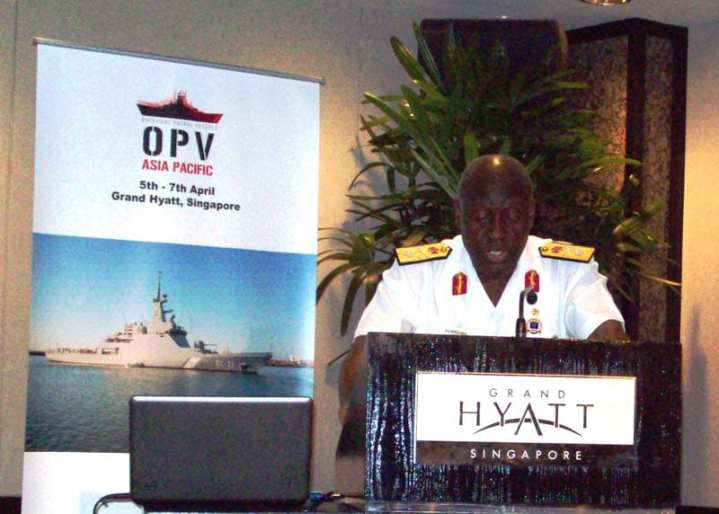 NIgerian navy Adm. D.J. Ezeoba speaks at the OPV Conference in Singapore, April 2011. Photo by Edward Lundquist