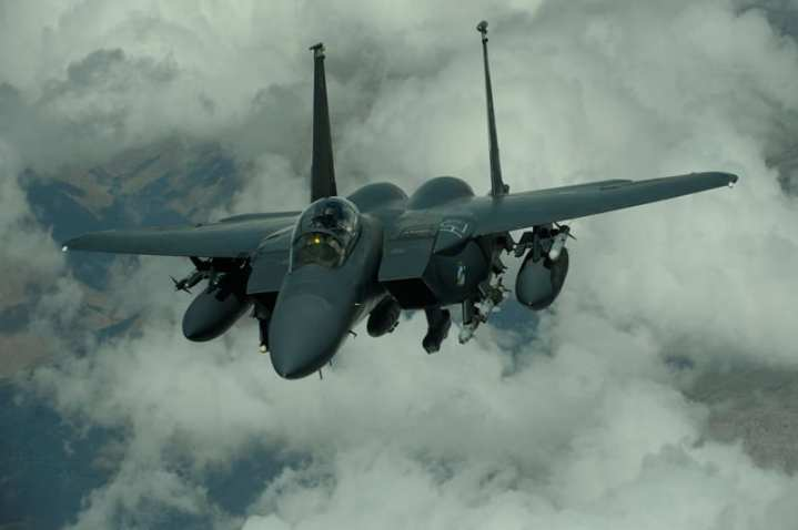 F-15E with JDAMs, AMRAAM, AIM-9, targeting pod