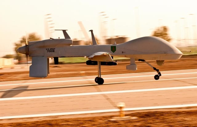 An MQ-1C Gray Eagle UAS on the runway