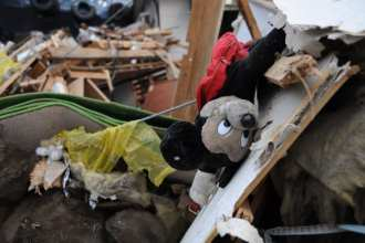 Earthquake damage, lots of it.