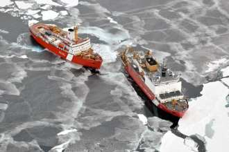 St. Laurent and Coast Guard Cutter Healy