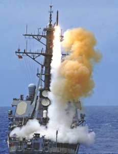 The guided missile destroyer USS Benfold (DDG 65) fires a Standard surface-to-air missile off the coast of Hawaii as part of Rim of the Pacific 2010 on July 11, 2010. Rim of the Pacific is a biennial, multinational exercise. The Navy's Aegis ballistic missile defenses already exist as one counter to anti-ship ballistic missiles. DoD photo by Petty Officer 2nd Class Mark Logico, U.S. Navy