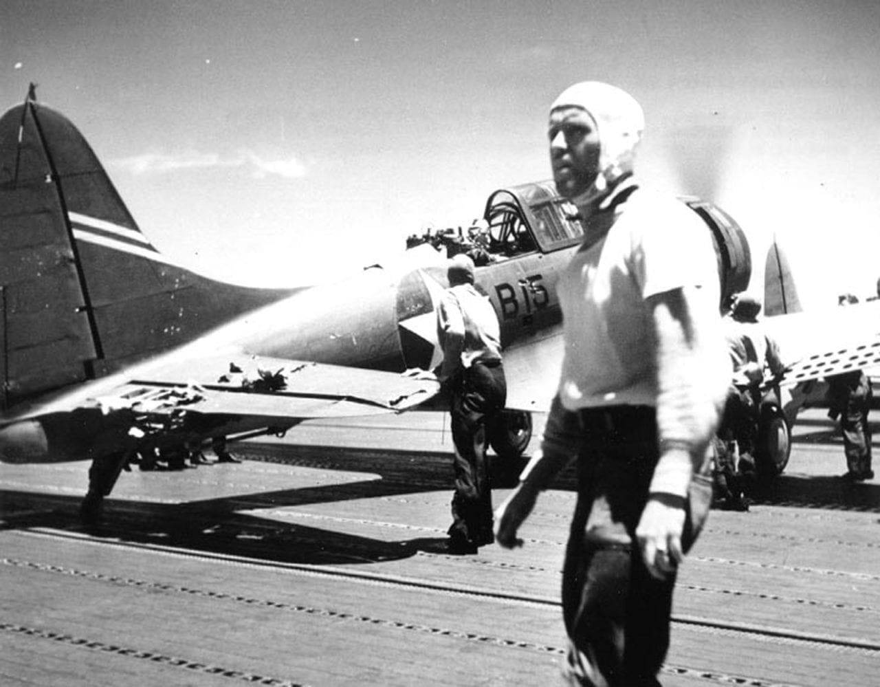Damaged SBD Aboard Yorktown
