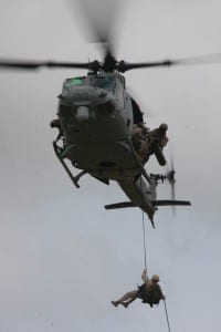 UH-1Y Huey fast ropes Camp Margarita