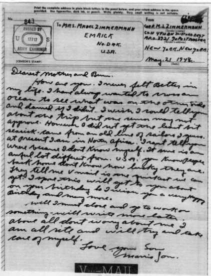 V-mail letter 1943