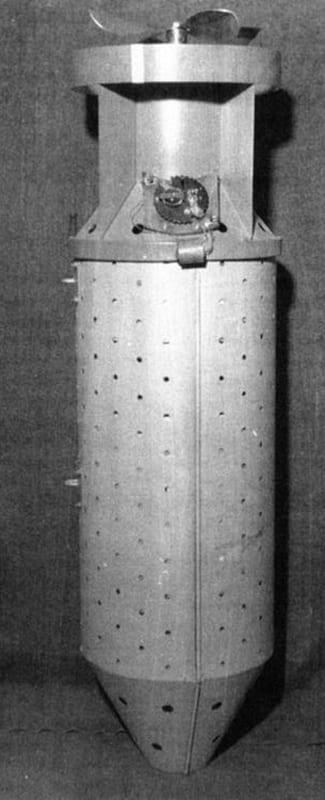 "An actual ""bat bomb,"" which housed the bats with their attached incendiary devices"