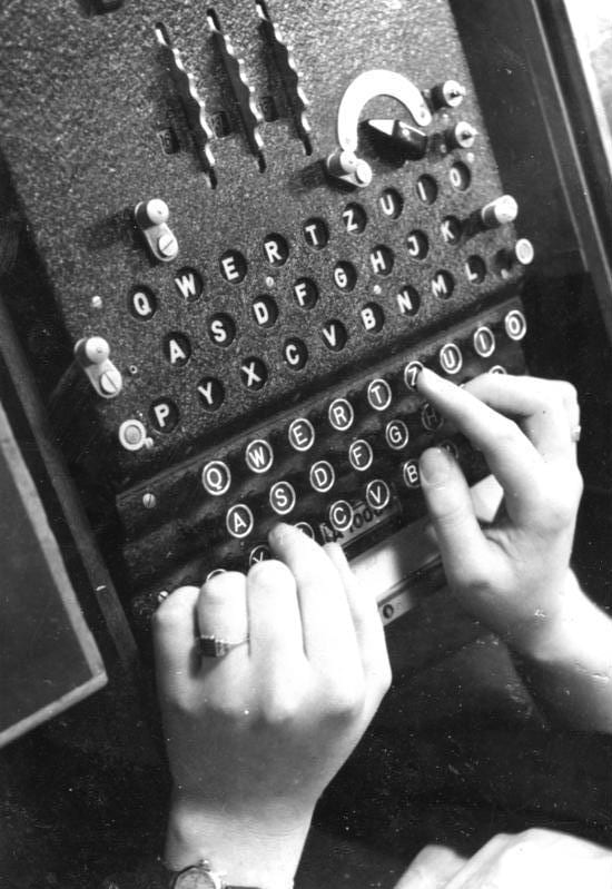 Enigma machine in use; 1943
