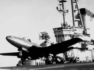 FH-1 Phantom takeoff during carrier trials