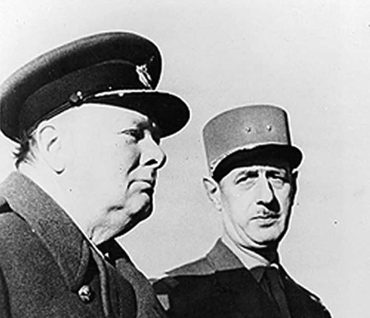 Winston Churchill and Charles de Gaulle during World War II