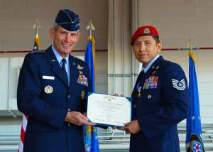 Air Force Chief of Staff Gen. Norton Schwartz and Tech Sgt. Ismael Villegas with Silver Star