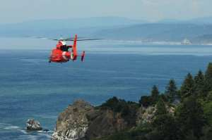 Humboldt Bay Dolphin helo in cliff rescue training