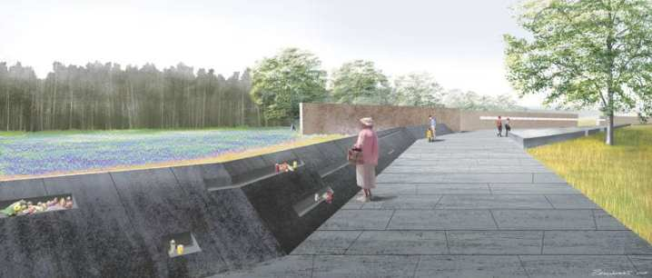 Rendering of the visitors' walkway leading to the Flight 93 Memorial Path Wall in Shanksville, Pa. The National Memorial was dedicated Sept. 10-11, 2011. All illustrations courtesy of Paul Murdoch Architects