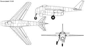 Messerschmitt P.1101 3-view