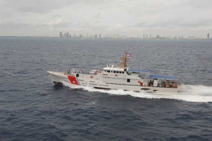 The CGC Bernard C. Webber, the Coast Guard's first Sentinel-class patrol boat, arrives at Coast Guard Sector Miami, Fla., Feb. 9, 2012. The 154-foot Webber is a fast response cutter capable of independently deploying to conduct missions such as ports, waterways, and coastal security; fishery patrols; drug and illegal immigrant law enforcement; search and rescue; and national defense along the Gulf of Mexico and throughout the Caribbean. U.S. Coast Guard photo by Petty Officer 1st Class Jennifer Johnson