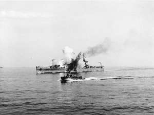 USS Savannah hit by a Fritz-X off Salerno