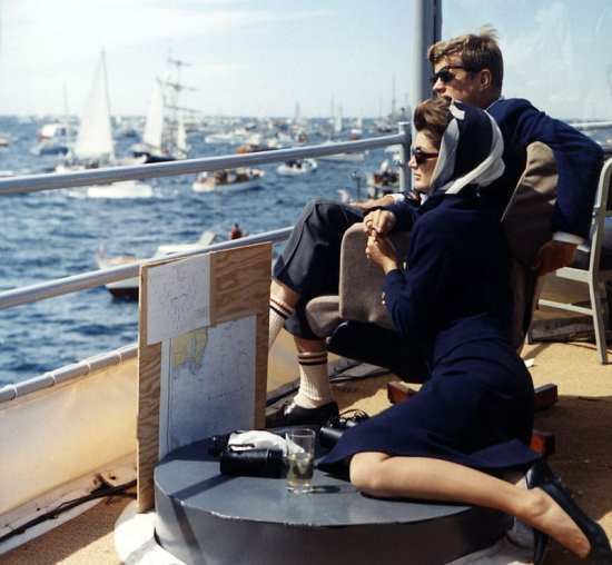 President and First Lady watching Americas Cup, 1962
