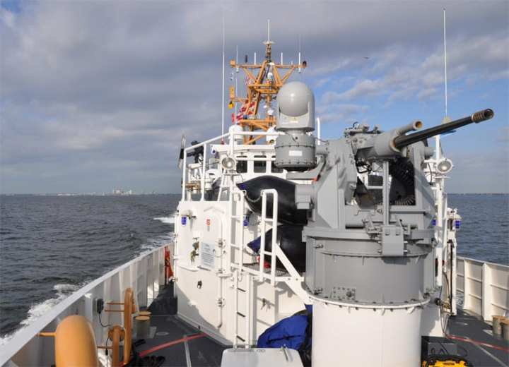 the newest coast guard cutter WPC-1103 bow