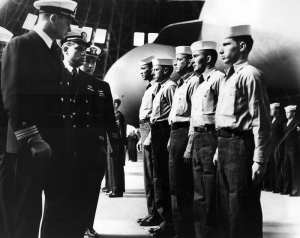 An inspection of U.S. Navy airship personnel at Naval Air Station (NAS) Weeksville, N.C. ca. 1950. National Museum of Naval Aviation photo