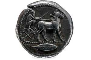A coin depicting mule cart racing in ancient Greece. British Museum photo