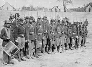 Union soldiers from the 6th Maine Regiment stand in formation withy fixed bayonets after the Battle of Fredericksburg. National Archives photo