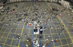 The grid on the floor of the RLV Hangar as workers in the field bring in pieces of Columbia's debris. The Columbia Reconstruction Project Team attempted to reconstruct the bottom of the orbiter as part of the investigation into the accident that caused the destruction of Columbia and the loss of its crew as it returned to Earth on mission STS-107. NASA originally expected to only recover 10 percent of the Columbia, but ended up recovering 40 percent. NASA photo