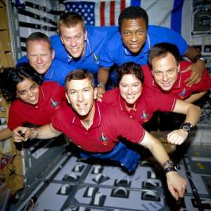 NASA and the world lost seven brave explorers on Feb. 1, 2003, when the shuttle Columbia broke apart during re-entry. In this photo from a roll of unprocessed film recovered by searchers, the STS-107 crew strikes a flying pose for their traditional in-flight crew portrait. Top row, from left: David M. Brown, mission specialist; William C. McCool, pilot; and Michael P. Anderson, payload commander. Bottom row, from left: Kalpana Chawla, mission specialist; Rick D. Husband, mission commander; Laurel B. Clark, mission specialist; and Ilan Ramon, payload specialist from the Israeli Space Agency. NASA photo