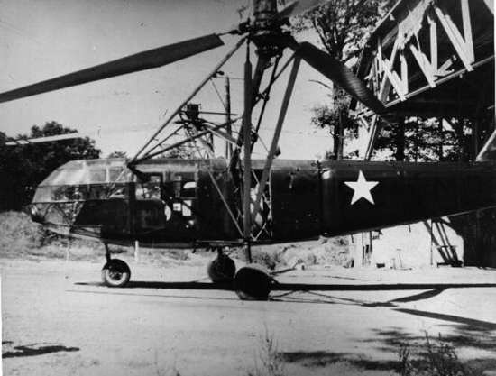 A captured Focke-Wulf Fa 223 Drache undergoes flight testing after the war. San Diego Air & Space Museum photo